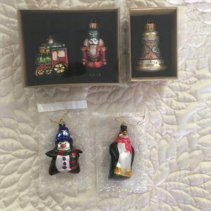 5 glass Christmas ornaments.